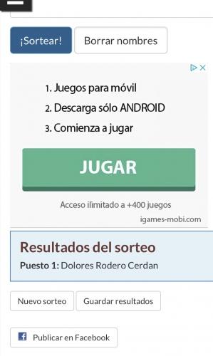 GANADORA SORTEO 4-3-2020